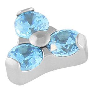 Aqua Crystal Trio Cluster